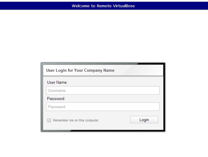 Remote VirtualBoss login screen